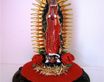 Sparkly Vintage GUADALUPE Shrine- Perfect for your Day of the Dead Altar