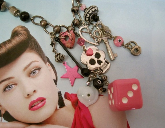 ON HOLD Rockabilly Vegas Wedding: Pink and Black Vintage Assemblage Necklace Dice Skull Heart Evil Eye Protection