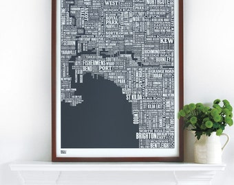 Melbourne Type Map - Decorative Screen Print