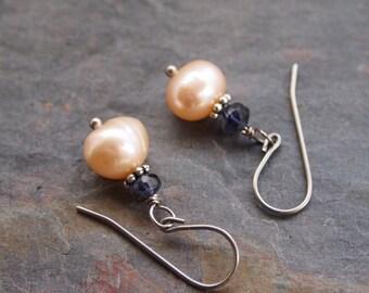 Iolite and Pearl Earrings