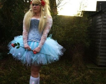 The Alice - Custom Sewn Trashy Tutu skirt - white and light blue - made to order - for cosplay, costume, parties
