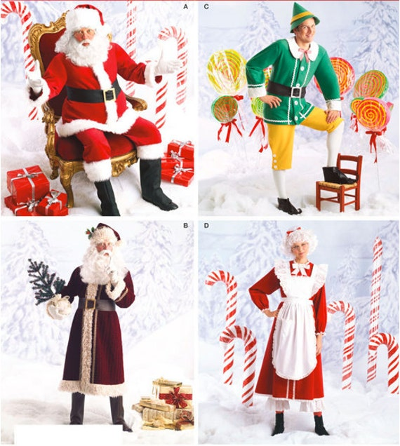 Santa claus costume pattern mrs claus elf father time christmas