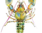 Original Lobster Watercolor Painting-6x8
