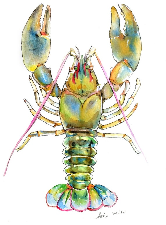 Original Lobster Watercolor Painting-6x8