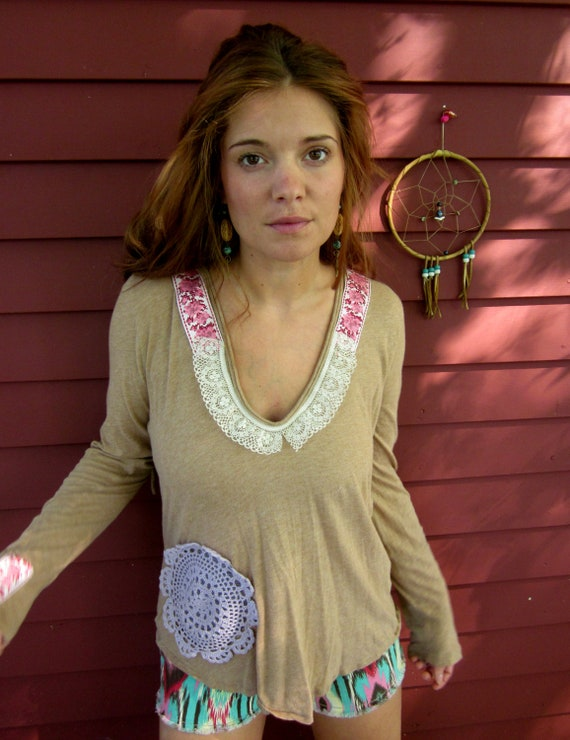 The Traveler Lace and Doily Crochet Back Applique Pullover Upcycled Layering Hoodie Size Medium By MountainGirlClothing