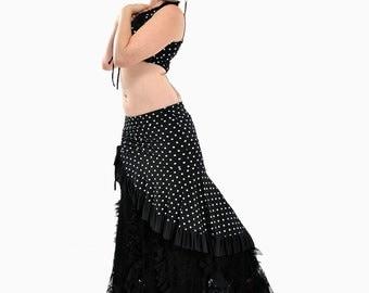 Polka Dot Milonga Skirt - Tango, Latin Dance, Belly Dance