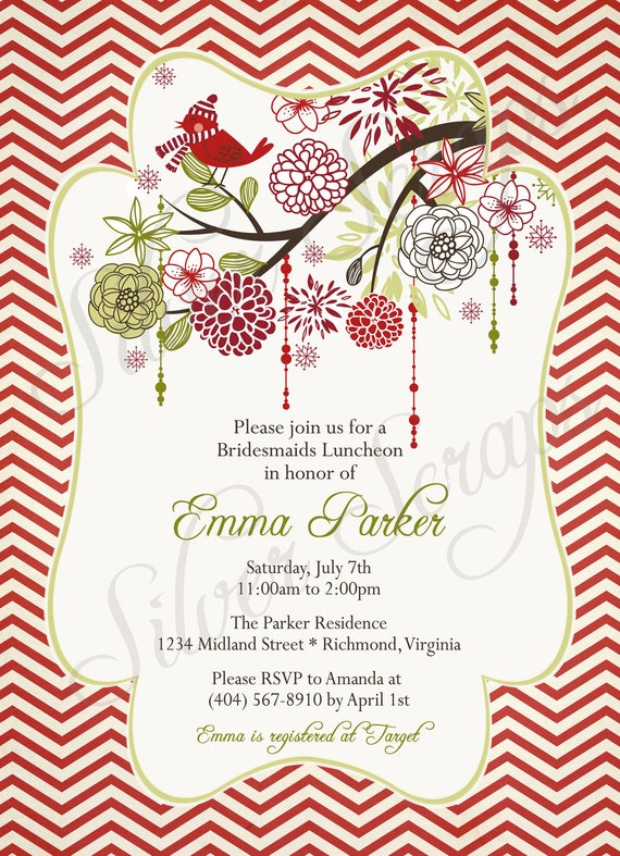to christmas bird and flowers custom digital bridal baby shower