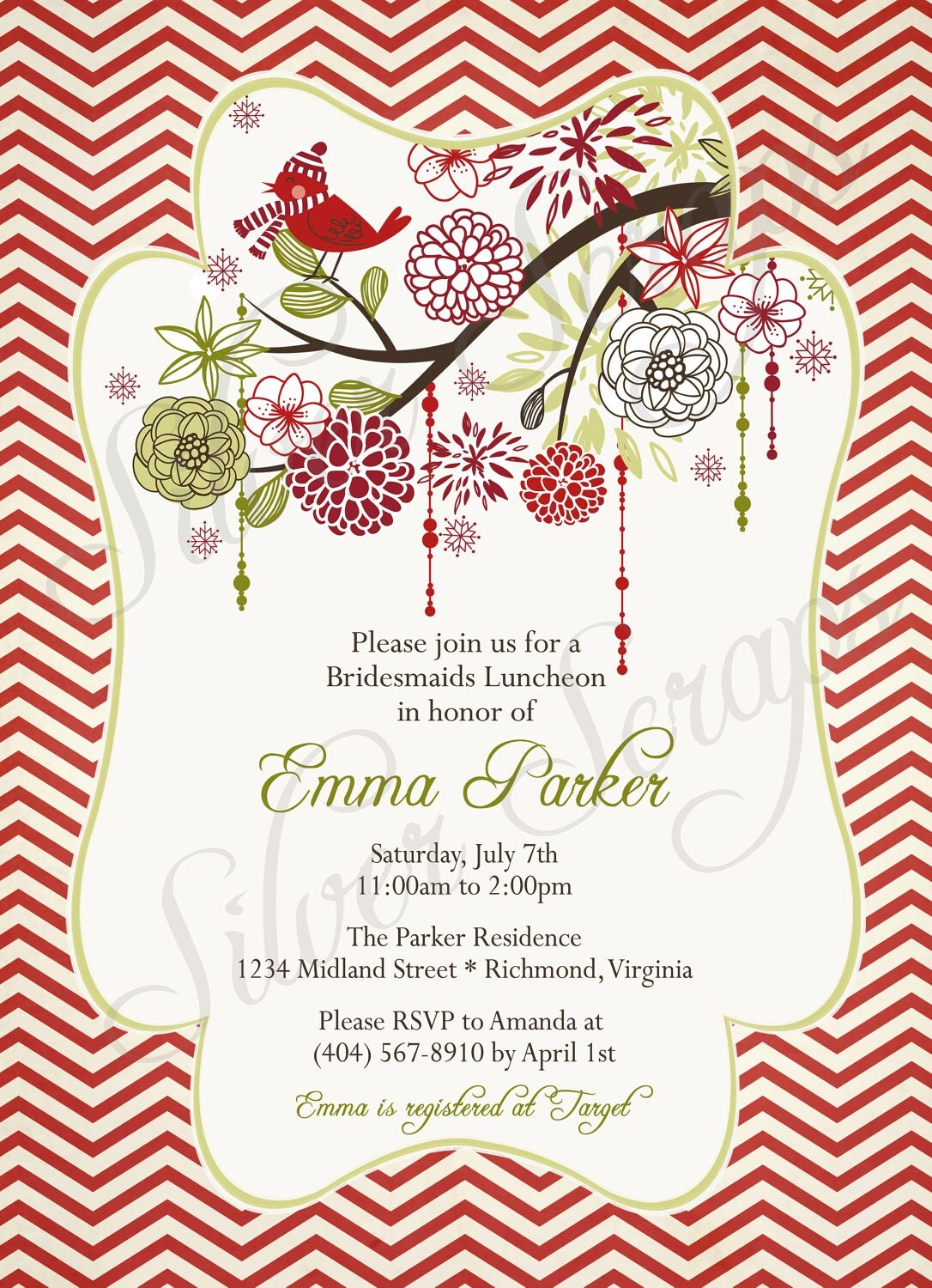 Christmas Bird And Flowers Custom Digital Bridal By