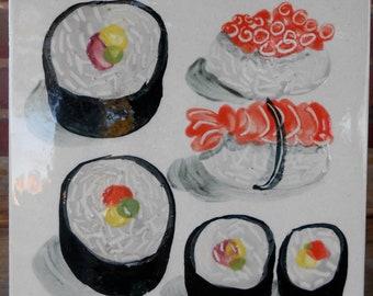 Sushi Trivet / Vintage Sushi Trivet / Vintage Tile / Vintage Ceramic Tile