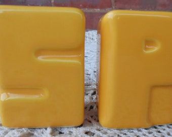 Typography Salt and Pepper / Vintage Typography Salt and Pepper / Salt and Pepper Shakers / Yellow Salt and Pepper Shakers