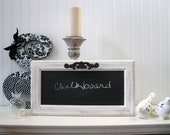 Vintage Shabby Chic Chalkboard... Cupboard Door Repurposed... Black and White with old Metal Handle... Home Decor