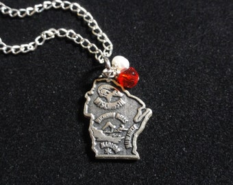 Wisconsin Badgers Necklace, Wisconsin State Map Sterling Silver Charm, Red & White Beaded Pendant Necklace