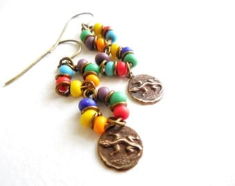 Fiesta Drop Earrings, Multi colored Glass, Lizard Brass Charm, Southwestern, Summer Fashion, Boho Jewelry