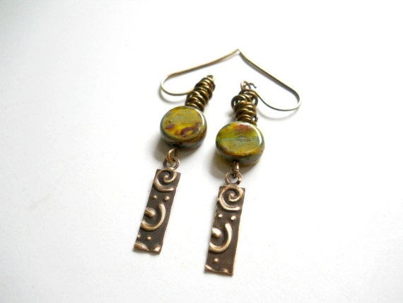 Sale Moss Green Glass and Brass Earrings, Brass Embossed Dangles, Circles, Earthy Rustic Natural Fashion, Beaded Earrings