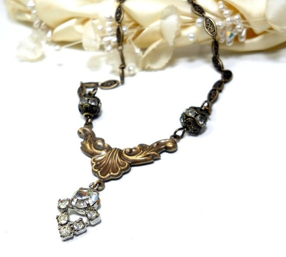 Victorian Style Bridal Necklace, Vintage Rhinestone, Antiqued Brass, Filigree, Dainty Chain, Vintage Components, Wedding Fashion, Beaded