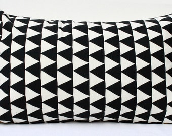 Mountains of Montana - monochromatic, geometric home decor, black triangle pattern, organic hand screenprinted, lumbar pillow