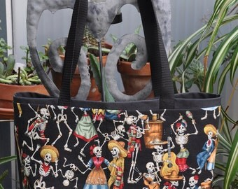 Rich Day of the Dead Shopping or Record Bag