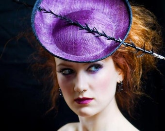 Purple Fascinator with Black Spiked Quill - Made to Order