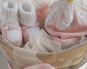Personalized Baby girl basket, Custom Baby shower, Gift for baby girls, Mary Janes, Newborn baby, baby name basket, beanie with flower, pink
