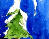 Yellow Cat Art Winter in Vermont Snowy Tree Hand Painted Greeting Card
