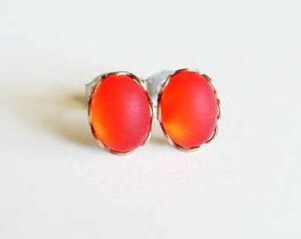 Tiny Bright Red Post Earrings Red Glass Earrings Bright Red Post Earrings Red Studs Frosted Glass Earrings Hypoallergenic Studs