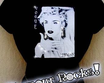 Madonna Vogue Concert Band Swarovski Rhinestone Crystal Tee Shirt Tee T  Top