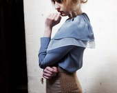 Veronica Double Collar Silk Crepe and Organza Blue Shirt