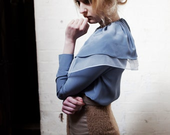 Veronica Double Collar Silk Crepe and Organza Blue Shirt