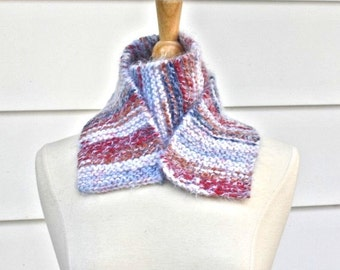 patriotic knit scarf, warm knit scarf, red white blue, knit wool scarf, knit neckwarmer,soft wool scarf,striped knit scarf,warm winter scarf