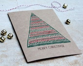 christmas card, geometric red green christmas tree, brown kraft card, holiday greeting card, letterhappy