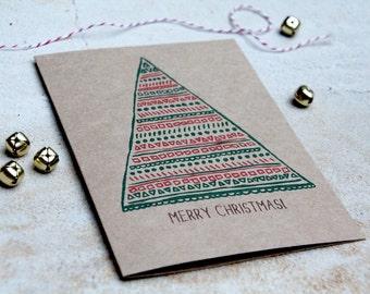 christmas card, geometric red green christmas tree, brown kraft card, holiday greeting card, letterhappy
