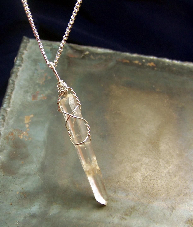 quartz crystal wire wrap necklace pendant sterling silver. Black Bedroom Furniture Sets. Home Design Ideas