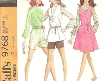 1960s Vintage Sewing Pattern  Wrap Jumper Top Blouse and Shorts McCalls 9768