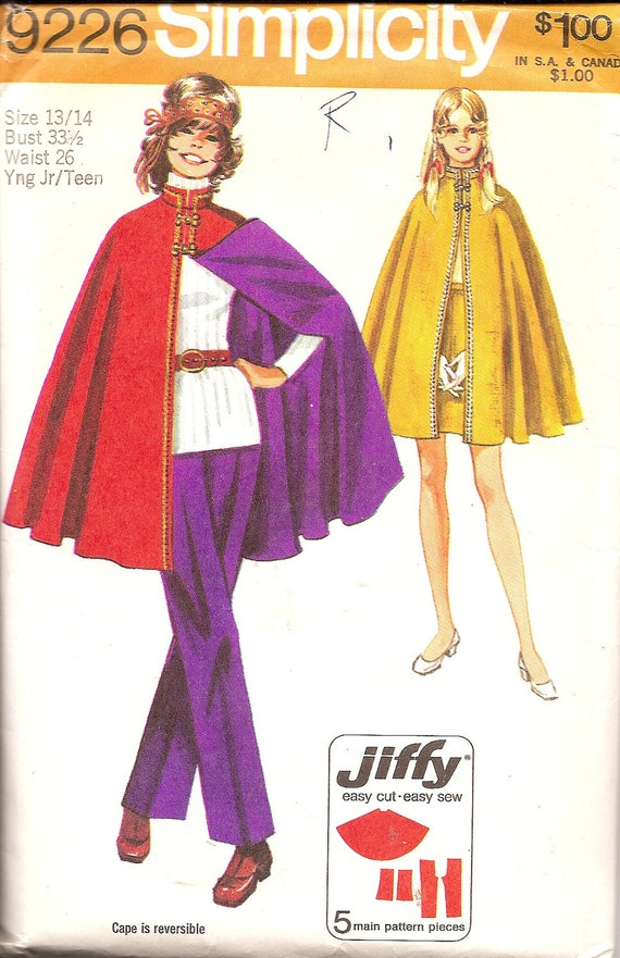 1970s Sewing Patterns - 70s Cape Pattern - 1970s Hip Hugger Pants Pattern - Mini Skirt - Simplicity 9226 - 70s Teen Pattern - Uncut