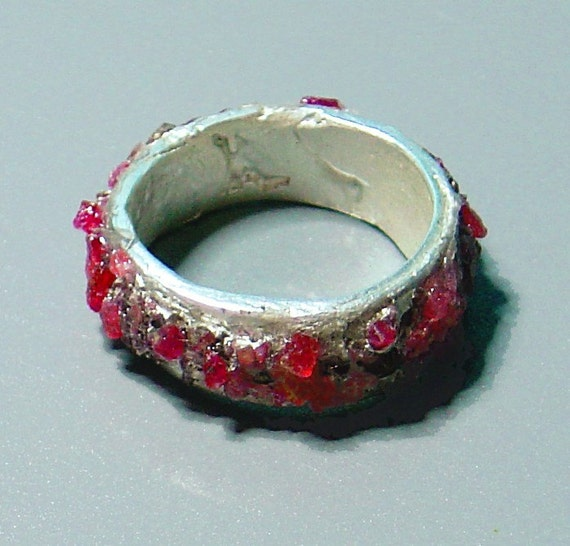 """Thick Solid Pure Silver Band with Crushed """"Raw"""" Red Corundum-Rubies, Unique"""