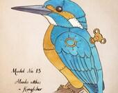 Clockwork Bird Kingfisher - steampunk illustration 5x7 print
