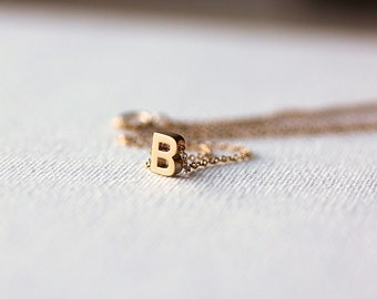 Initial necklace-Mini Gold OR Silver Letter Necklace-Gold filled,Alphabet Necklace,Gift for Her,Gift under 25,Simple,Stylish,Gold,Silver