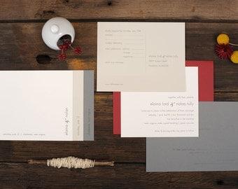 Simple Wedding Invitations - Layered Modern Gray Neutral