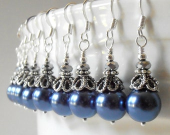 Dark Blue Pearl Bridesmaid Earrings Vintage Style Dangles for Bridal Party Sapphire Blue Wedding Jewelry Beaded Bridesmaid Jewelry Midnight