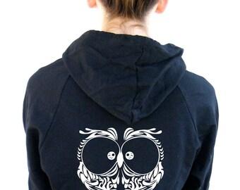 Womens Owl Sweatshirt  American Apparel California Fleece Pocket Pullover Hoodie - XS, Small, Medium, Large, XL, 2XL