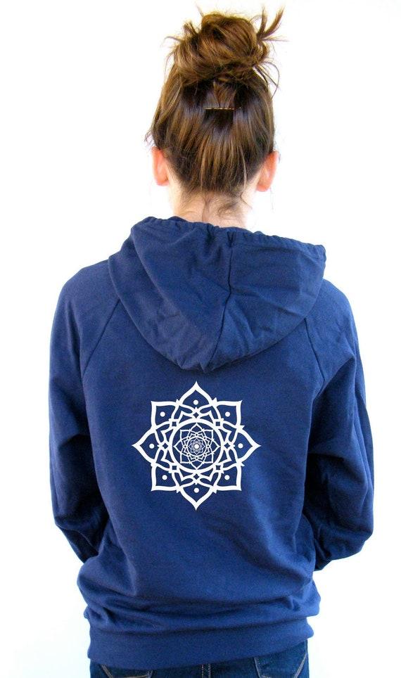 Womens Lotus Sweatshirt  American Apparel California Fleece Pocket Pullover Hoodie - XS, Small, Medium, Large, XL, XXL