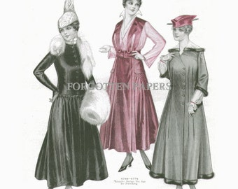 1915 EDWARDIAN FASHION  PRINT from McCalls - Winter Coats and Suits - Raspberry Hand Tinted