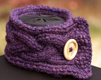 Knitted Scarf Neck Warmer Eggplant Purple Heather (Hand Knit with Button)