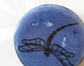 Dragonfly Brooch. Cornflower Blue Glaze on Black Porcelain Round. Indigo. Periwinkle. Denim. Woodland. Up North. Nature Lover. Lake Cabin