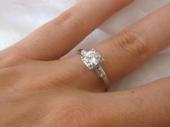 Reserved for Mike, First Payment, Art Deco Platinum Diamond Engagement Ring