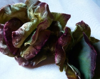 Velvet rose made in Czech Republic in Green & Burgundy for Sashes, Corsages, Pins, Costume Design