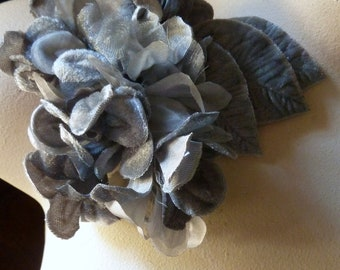 Charcoal Gray Flowers Velvet and Organza  for Bridal, Headbands, Hats, Sashes, Boutonnieres, Corsages. MF29
