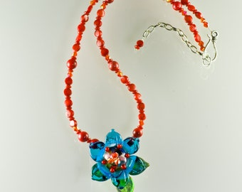 Turquoise Blossom and Coral Necklace, Handmade Glass Jewelry