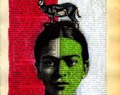 Print illustration Mixed Media Painting poster art Frida Kahlo