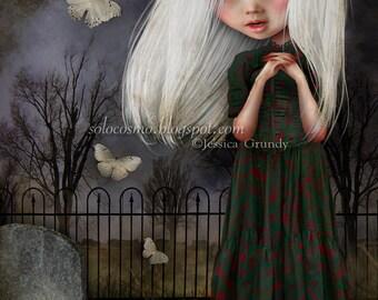 Little Girl Art Print 'Pelottava' - Little Girl in Graveyard - 11x17 OR 13x19 Large Sized Fine Art Print - Vampire Child